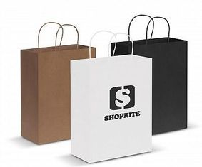 Custom Logo Printed Merchandise Bags , Paper Goodie Bags With Handles